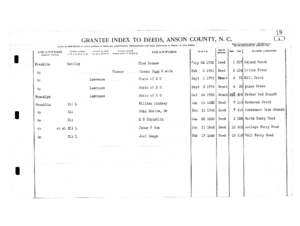 Bentley Purchased Land in Anson, NC - Index for Franklin Land Records Purchased in Anson, NC