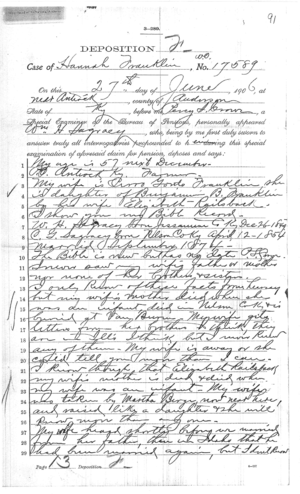 Deposition of Wm H Sagracy  Page 1