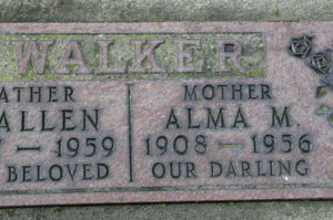 Alma May (Jeffries) Walker's tombstone.