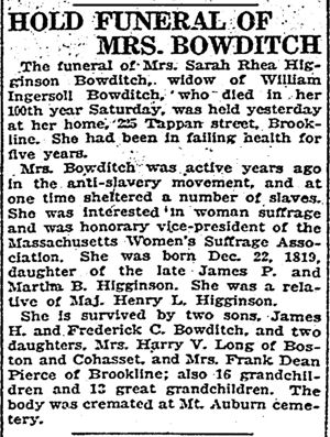 Sarah (Higginson) Bowditch Obituary: Boston Herald. October 7, 1919