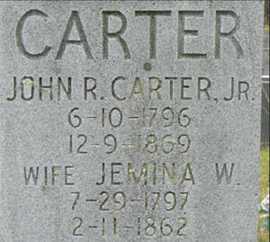 John Rhea and Jemina Carter's Family Grave Marker