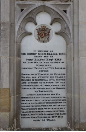 Memorial to Henry Miers Elliot in Winchester Cathedral.