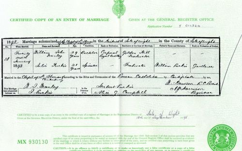 Marriage Certificate for William Manley and Julia Purkis