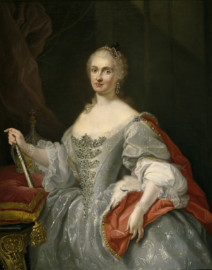Portrait of Maria Amalia of Saxony as Queen of Naples overlooking the Neapolitan crown