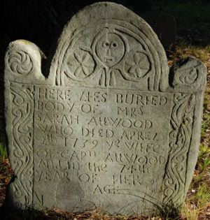 Sarah Atwood was buried at the Ancient Burying Ground in 1739