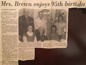 Mrs. Brown enjoys 95th Birthday