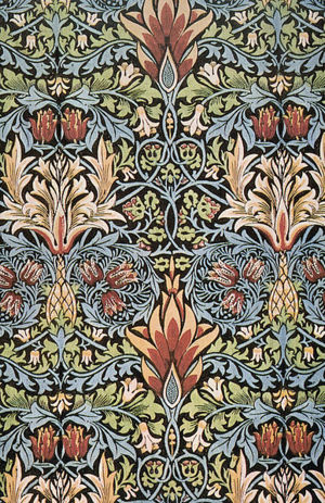 Snakeshead printed cotton design by William Morris.