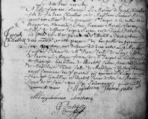 Marriage Record for Francoise-Marthe Barton and Joseph Chevalier