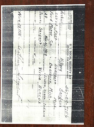 Arthur Sargent Social Security application