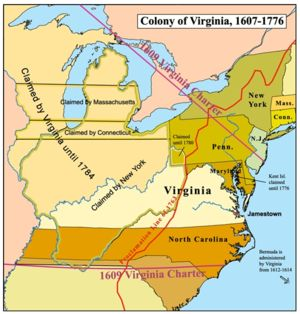 map of Virginia Colony 1607-1776