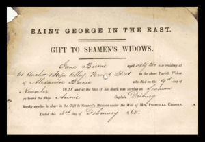 Sample Gift to Seaman's Widows Certificate