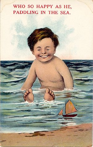 'Paddling in the Sea' Postcard