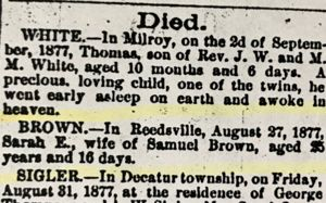 Death notice for Sarah E. Brown