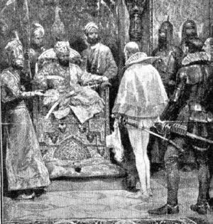 Sir John Mildenhall in the court of the Grand Mugal Akbar