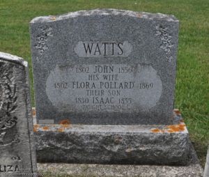 John Watts, Flora Pollard, and son Isaac's Tombstone