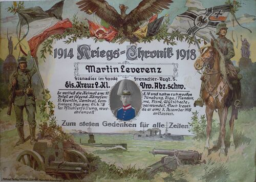 The image was made after WWI to remember Martin Lewerenz on his participation in WW I.