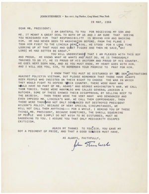 Letter from John Steinbeck to Pres. Lyndon Johnson