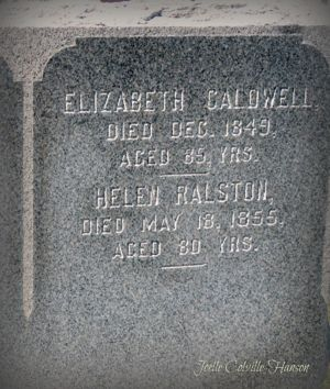 Headstone for Elizabeth Howie and Helen Howie Ralston, mothers who accompanied their children, John Caldwell and Margaret Ralston to America from Scotland