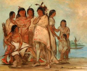 Old Decora and His Family, by George Catlin