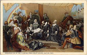 Pilgrims Leaving Delft Postcard