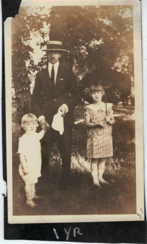 George with Katherine and Bob parasol 1922
