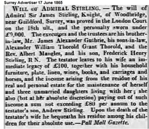 Will of Admiral Sir James STIRLING