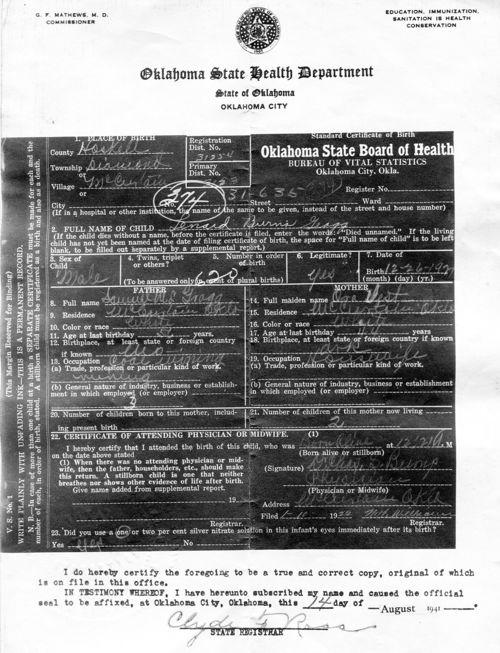 Leonard Burns Gragg Birth Certificate