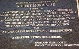 Robert Morris, Sr. Plaque in Maryland