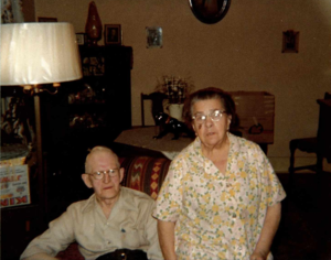 Sophie Leopoldine Louche and Victor Herman Richard Franklin Pollard. Picture was taken in 1974