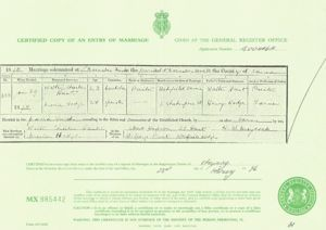 Marriage record for Walter Charles Hunt and Maria Hodge