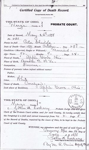 Peter Shields of Meigs Co. Ohio Civil War Records Image 5