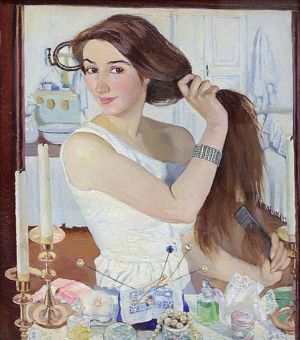 At the Dressing-Table (self-portrait)
