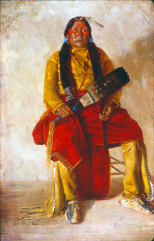 Chosequah, a Comanche Indian painted from life by E.A Burbank at Fort Sill 1897