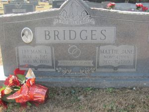 Mattie Jane Mashburn, Truman Edward Bridges headstone