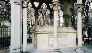 Tomb of Heloise and Abelard in the Pere Lachaise Cemetery in Paris