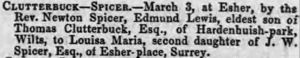 Marriage announcement for Edmund Lewis Clutterbuck to Louisa Maria Spicer