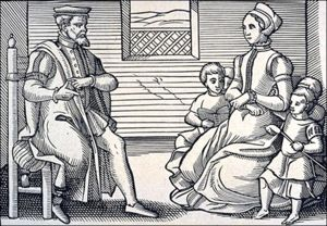 Image of a Puritan family in 16th-century England