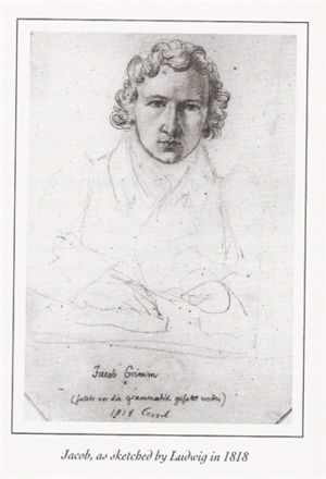 Jacob Grimm sketched by his brother, Ludwig in 1818