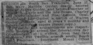 Obit for Mary Matilda Guider