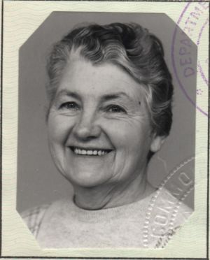 Passport Portrait of Myrtle May Sharp nee Crump
