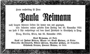 Paula Reimann death notice