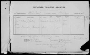 William Gallwey & Emmeiline Runciman marriage register 1892