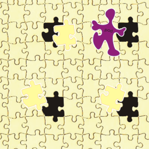 Puzzle with pieces