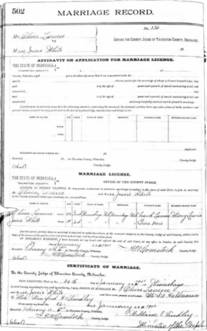 The LaMere-White Marriage License
