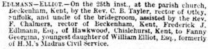 Marriage announcement for  Frederick Joseph Edlmann to Fanny Georgina Elliot