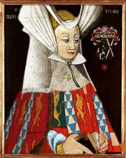 Portrait of Anne Neville (1456-85), wife of Richard III of England.